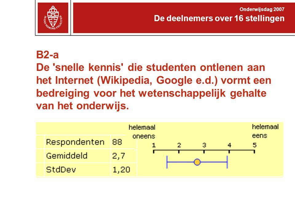 B2-a De 'snelle kennis' die studenten ontlenen aan het Internet (Wikipedia, Google e.d.) vormt een bedreiging voor het wetenschappelijk gehalte van he