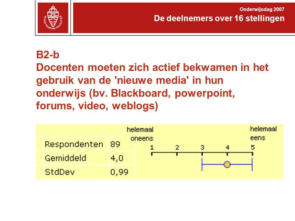 B2-b Docenten moeten zich actief bekwamen in het gebruik van de 'nieuwe media' in hun onderwijs (bv. Blackboard, powerpoint, forums, video, weblogs) D