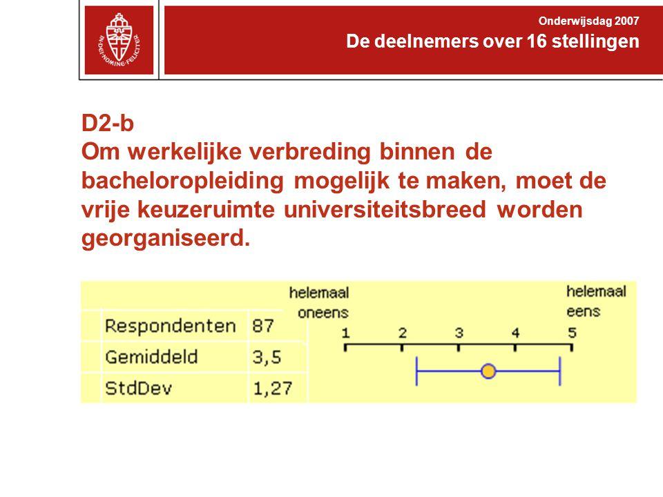 D2-b Om werkelijke verbreding binnen de bacheloropleiding mogelijk te maken, moet de vrije keuzeruimte universiteitsbreed worden georganiseerd. De dee