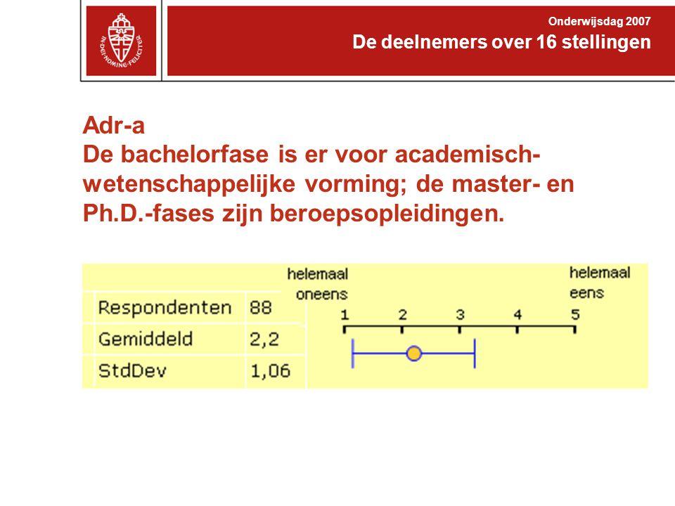 Adr-a De bachelorfase is er voor academisch- wetenschappelijke vorming; de master- en Ph.D.-fases zijn beroepsopleidingen. De deelnemers over 16 stell