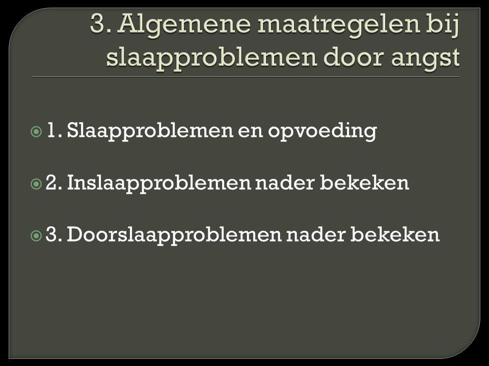  1. Slaapproblemen en opvoeding  2. Inslaapproblemen nader bekeken  3. Doorslaapproblemen nader bekeken