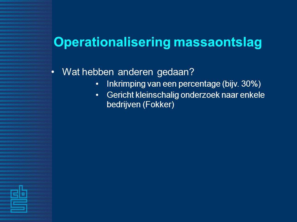 Operationalisering massaontslag •Wat hebben anderen gedaan.