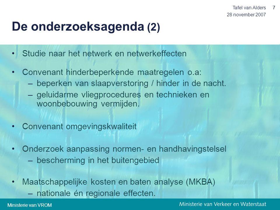 28 november 2007 Tafel van Alders77 De onderzoeksagenda (2) •Studie naar het netwerk en netwerkeffecten •Convenant hinderbeperkende maatregelen o.a: –