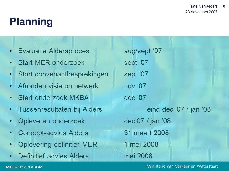 28 november 2007 Tafel van Alders88 Planning •Evaluatie Aldersproces aug/sept '07 •Start MER onderzoeksept '07 •Start convenantbesprekingensept '07 •A