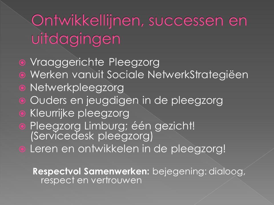  Vraaggerichte Pleegzorg  Werken vanuit Sociale NetwerkStrategiëen  Netwerkpleegzorg  Ouders en jeugdigen in de pleegzorg  Kleurrijke pleegzorg 