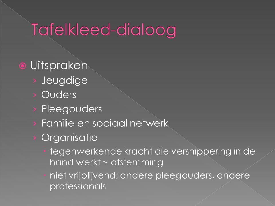  Uitspraken › Jeugdige › Ouders › Pleegouders › Familie en sociaal netwerk › Organisatie  tegenwerkende kracht die versnippering in de hand werkt ~