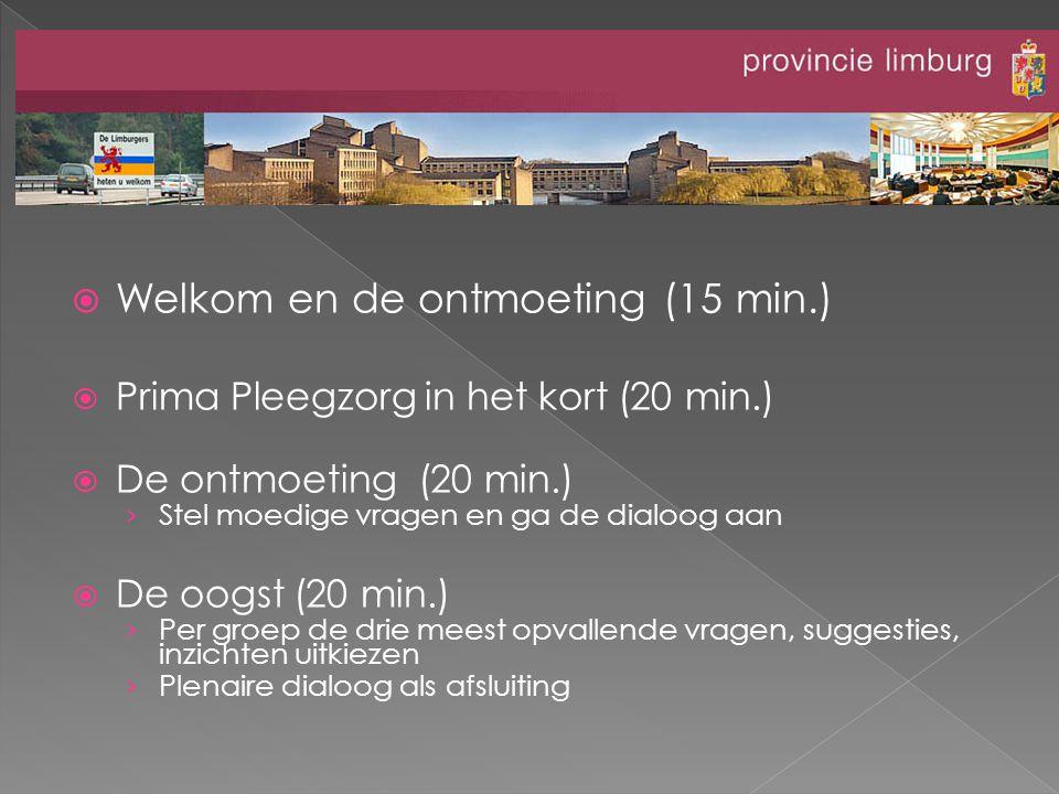  Welkom en de ontmoeting (15 min.)  Prima Pleegzorg in het kort (20 min.)  De ontmoeting (20 min.) › Stel moedige vragen en ga de dialoog aan  De