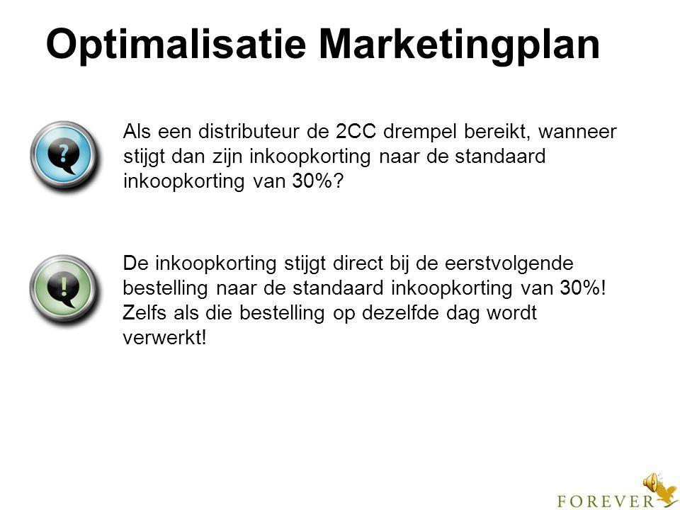 Optimalisatie Marketingplan Geldt deze aparte distributeur-inkoopkorting per 1 mei alleen voor nieuwe distributeurs, die na 1 mei ingeschreven worden.