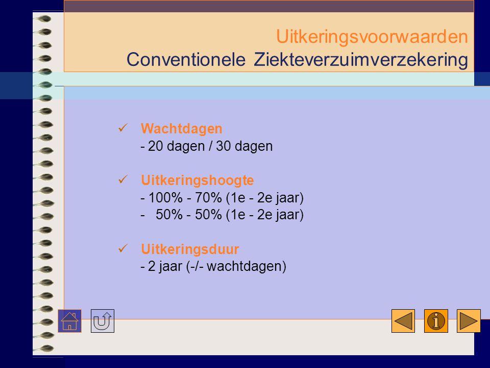 Uitkeringsvoorwaarden Conventionele Ziekteverzuimverzekering  Wachtdagen - 20 dagen / 30 dagen  Uitkeringshoogte - 100% - 70% (1e - 2e jaar) - 50% - 50% (1e - 2e jaar)  Uitkeringsduur - 2 jaar (-/- wachtdagen)