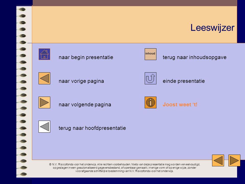 Leeswijzer naar begin presentatie terug naar inhoudsopgave naar vorige pagina einde presentatie naar volgende pagina Joost weet 't! terug naar hoofdpr