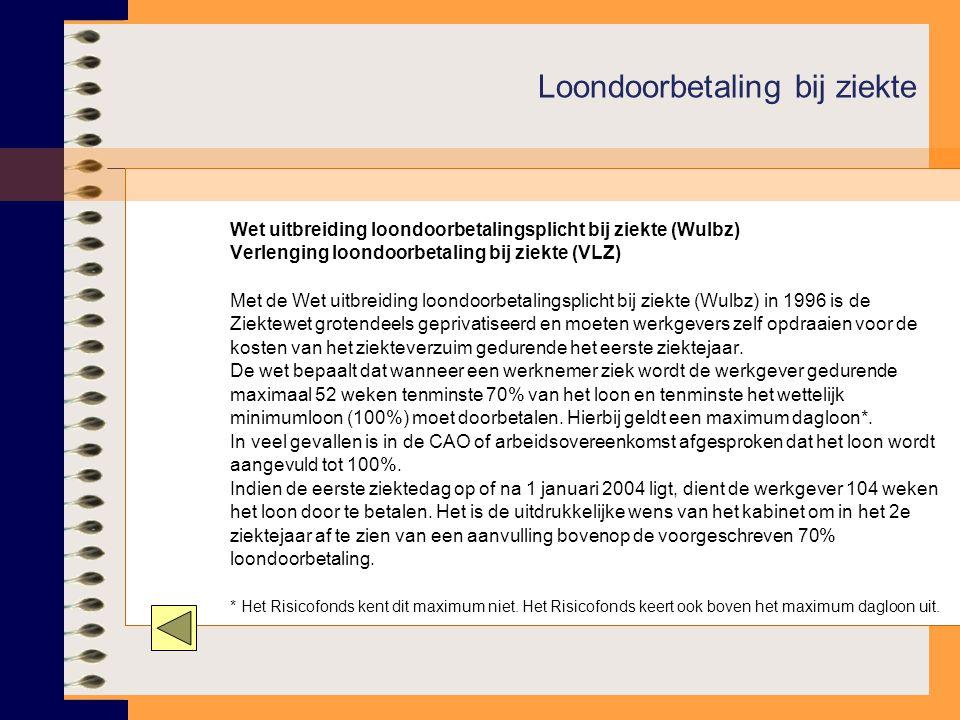 Wet uitbreiding loondoorbetalingsplicht bij ziekte (Wulbz) Verlenging loondoorbetaling bij ziekte (VLZ) Met de Wet uitbreiding loondoorbetalingsplicht