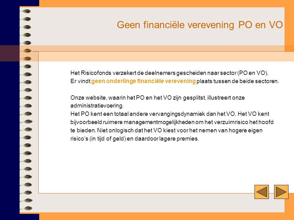 Geen financiële verevening PO en VO Het Risicofonds verzekert de deelnemers gescheiden naar sector (PO en VO). Er vindt geen onderlinge financiële ver