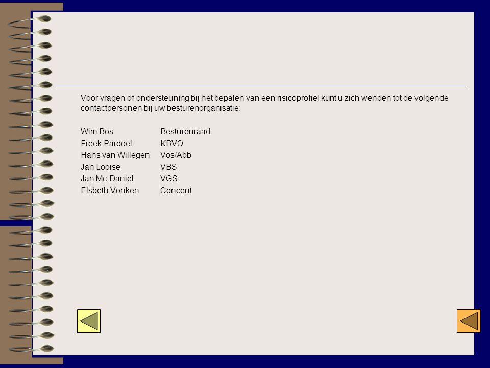Voor vragen of ondersteuning bij het bepalen van een risicoprofiel kunt u zich wenden tot de volgende contactpersonen bij uw besturenorganisatie: Wim Bos Besturenraad Freek Pardoel KBVO Hans van Willegen Vos/Abb Jan Looise VBS Jan Mc Daniel VGS Elsbeth Vonken Concent