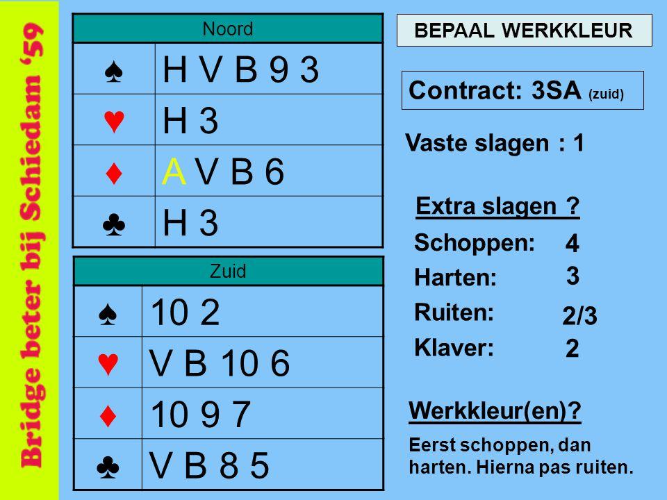 Noord ♠H V B 9 3 ♥H 3 ♦A V B 6 ♣H 3 Zuid ♠10 2 ♥V B 10 6 ♦10 9 7 ♣V B 8 5 Contract: 3SA (zuid) Vaste slagen : 1 4 Schoppen: Harten: Ruiten: Klaver: 3 2/3 2 BEPAAL WERKKLEUR Extra slagen .