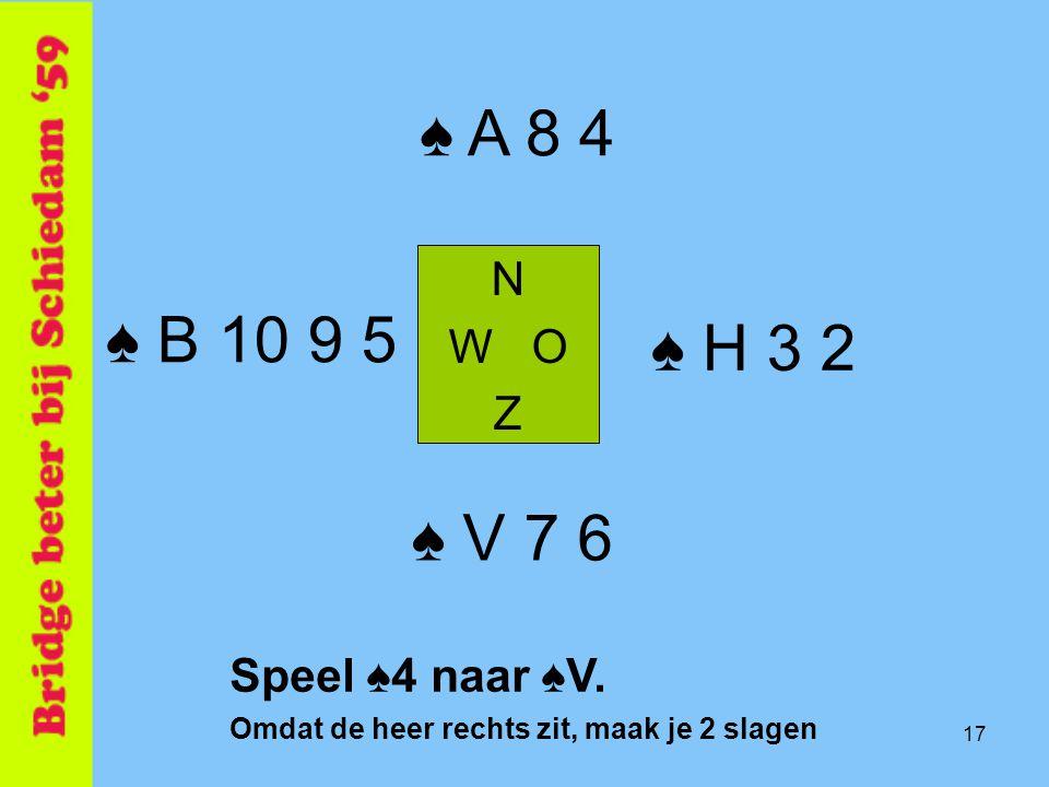 17 ♠ H 3 2 N W O Z ♠ V 7 6 ♠ A 8 4 ♠ B 10 9 5 Speel ♠4 naar ♠V. Omdat de heer rechts zit, maak je 2 slagen