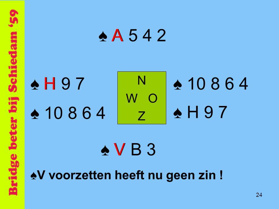 24 ♠ A 5 4 2 N W O Z ♠ V B 3 ♠ H 9 7♠ 10 8 6 4 ♠V voorzetten heeft nu geen zin ! ♠ 10 8 6 4 ♠ H 9 7 V H A