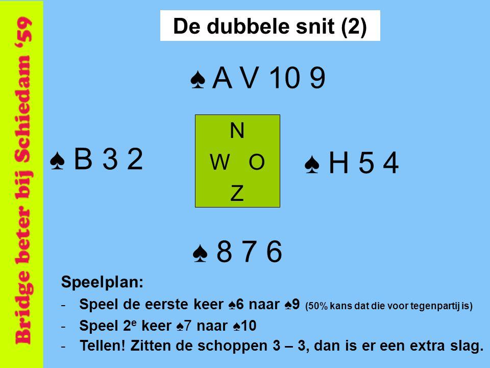 Speelplan: -Speel de eerste keer ♠6 naar ♠9 (50% kans dat die voor tegenpartij is) -Speel 2 e keer ♠7 naar ♠10 N W O Z ♠ 8 7 6 ♠ A V 10 9 ♠ B 3 2 ♠ H