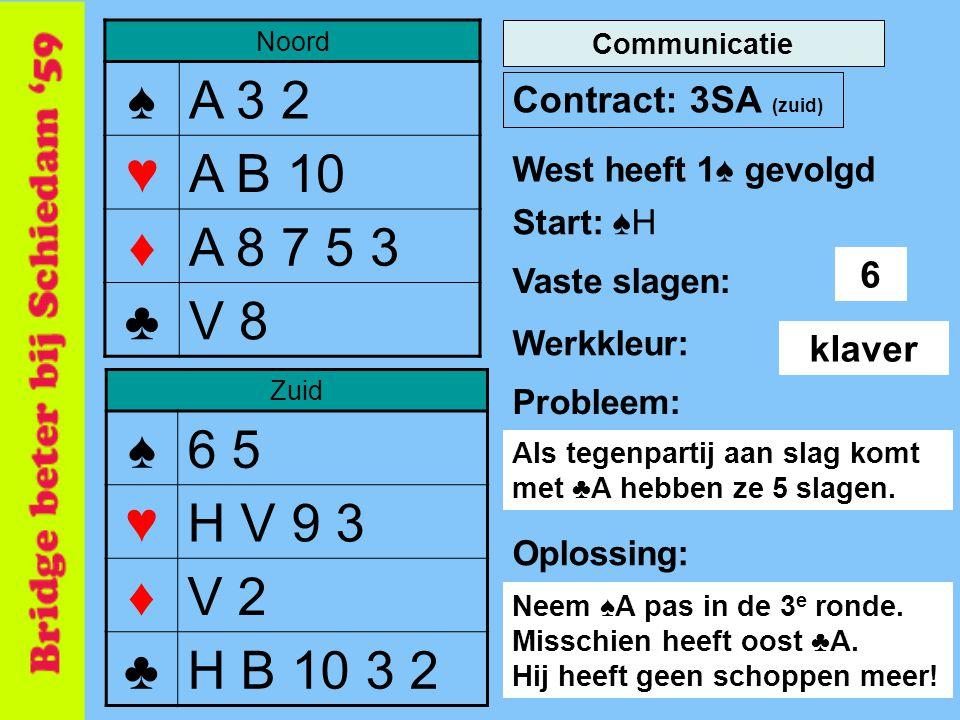 Noord ♠A 3 2 ♥A B 10 ♦A 8 7 5 3 ♣V 8 Zuid ♠6 5 ♥H V 9 3 ♦V 2 ♣H B 10 3 2 Contract: 3SA (zuid) Start: ♠H Werkkleur: Probleem: 6 Communicatie Vaste slagen: West heeft 1♠ gevolgd klaver Als tegenpartij aan slag komt met ♣A hebben ze 5 slagen.