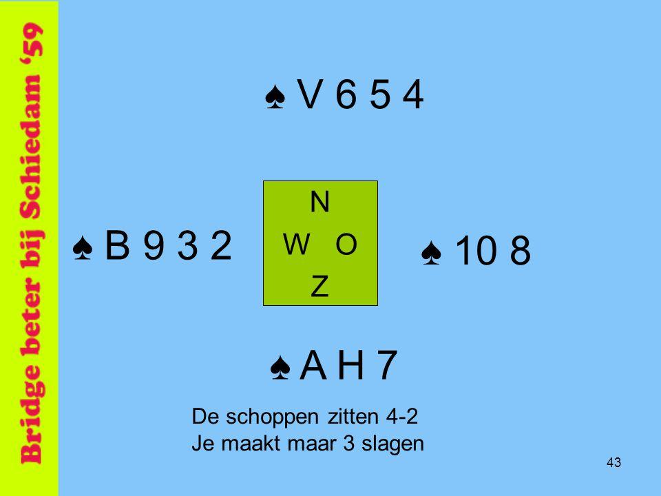 43 ♠ V 6 5 4 N W O Z ♠ A H 7 ♠ B 9 3 2 ♠ 10 8 De schoppen zitten 4-2 Je maakt maar 3 slagen