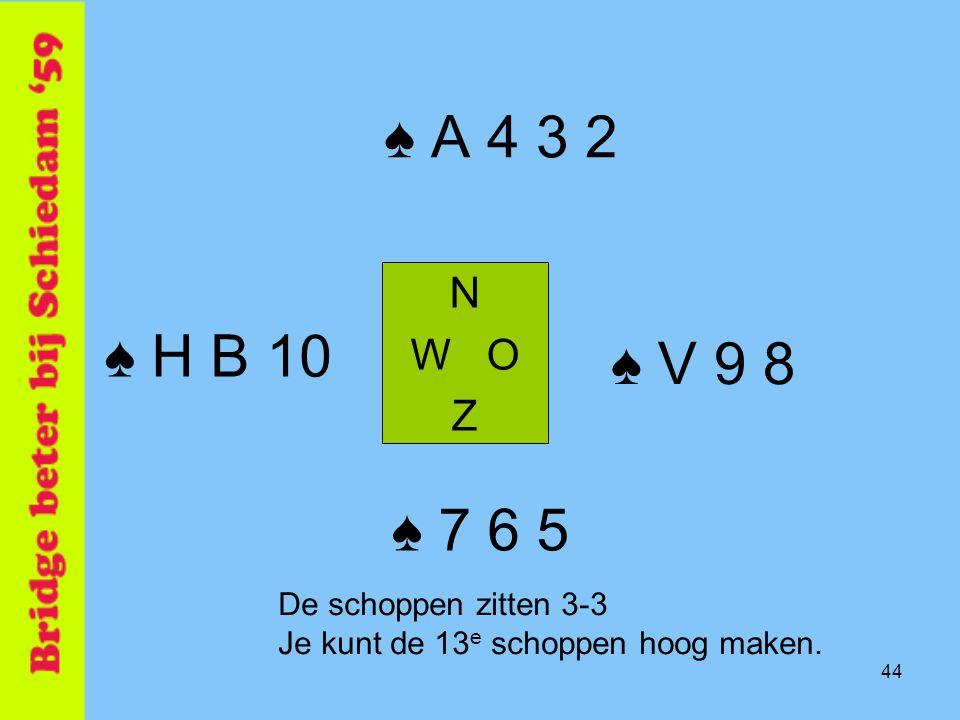 44 ♠ A 4 3 2 N W O Z ♠ 7 6 5 ♠ H B 10 ♠ V 9 8 De schoppen zitten 3-3 Je kunt de 13 e schoppen hoog maken.