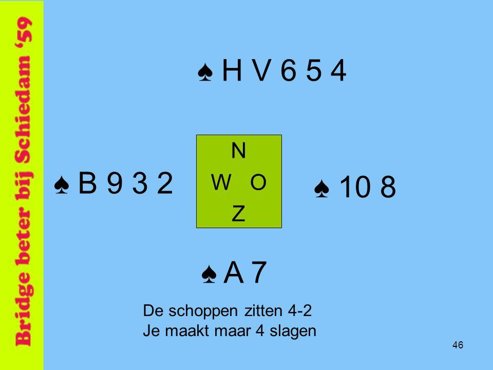 46 ♠ H V 6 5 4 N W O Z ♠ A 7 ♠ B 9 3 2 ♠ 10 8 De schoppen zitten 4-2 Je maakt maar 4 slagen