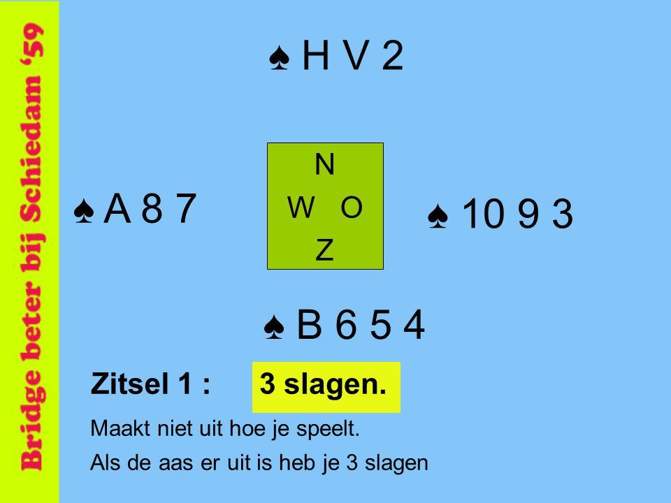 ♠ H V 2 N W O Z ♠ B 6 5 4 ♠ A 8 7 ♠ 10 9 3 Maakt niet uit hoe je speelt. Als de aas er uit is heb je 3 slagen Zitsel 1 :3 slagen.