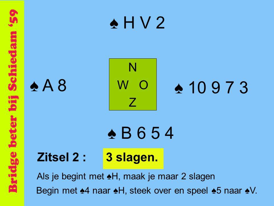 ♠ H V 2 N W O Z ♠ B 6 5 4 ♠ A 8 ♠ 10 9 7 3 Als je begint met ♠H, maak je maar 2 slagen Zitsel 2 :3 slagen. Begin met ♠4 naar ♠H, steek over en speel ♠