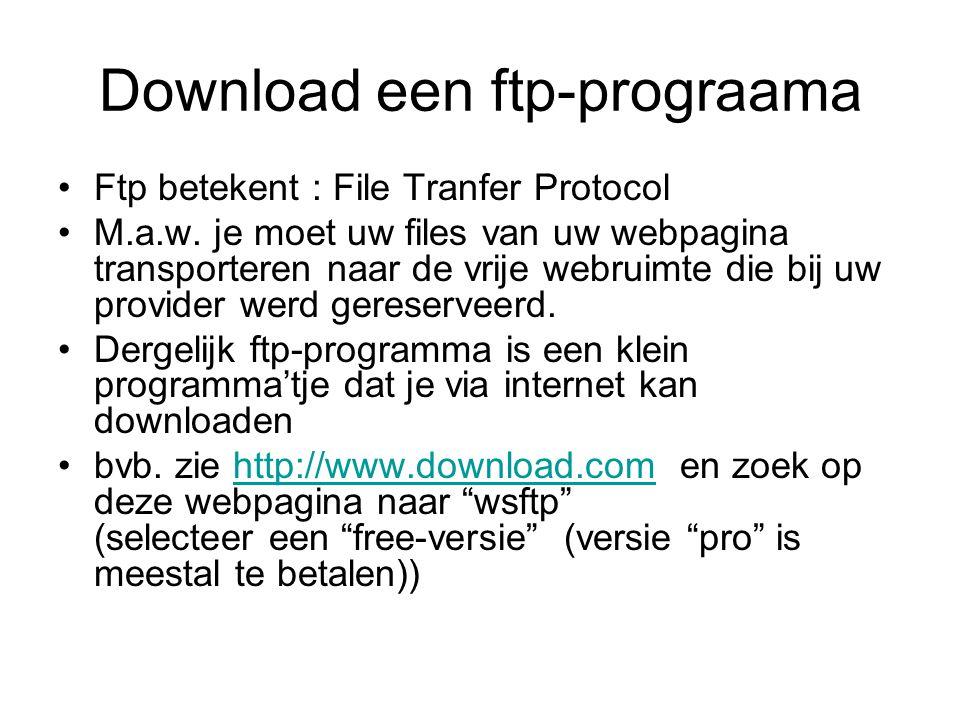 Ftp - opstarten •Na het opstarten van het ftp-programma zie je aan de linkerzijde uw harde schijf, met de web-bestanden van uw website (tenminste na het configureren van ftp), rechts is de vrije ruimte bij uw provider.