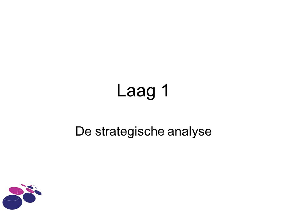 Laag 1 De strategische analyse