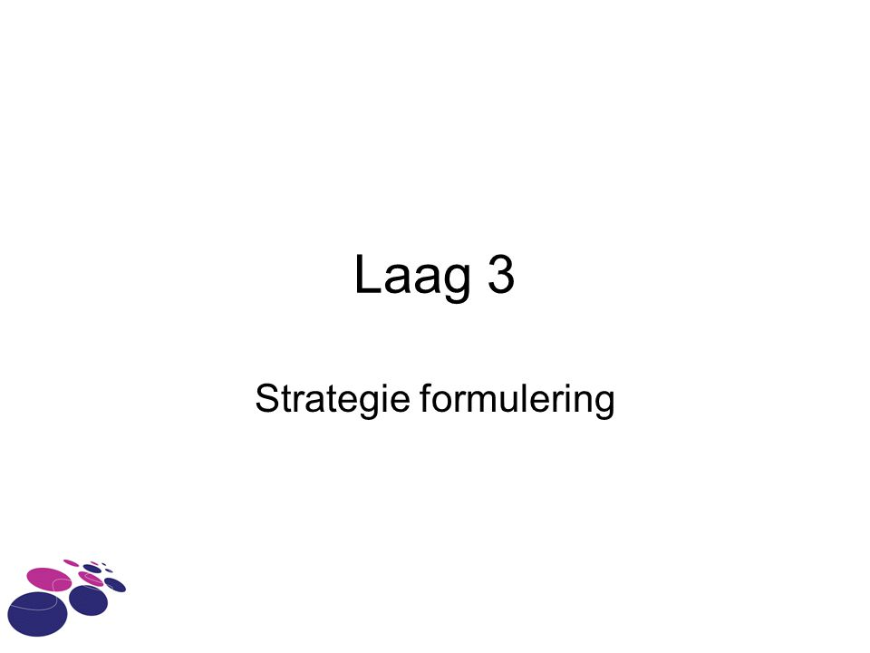 Laag 3 Strategie formulering