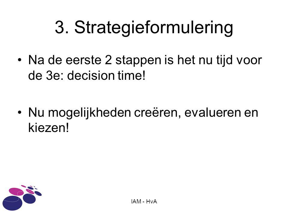 IAM - HvA 3. Strategieformulering •Na de eerste 2 stappen is het nu tijd voor de 3e: decision time! •Nu mogelijkheden creëren, evalueren en kiezen!