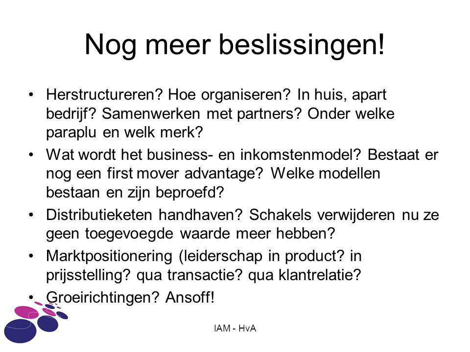IAM - HvA Nog meer beslissingen! •Herstructureren? Hoe organiseren? In huis, apart bedrijf? Samenwerken met partners? Onder welke paraplu en welk merk