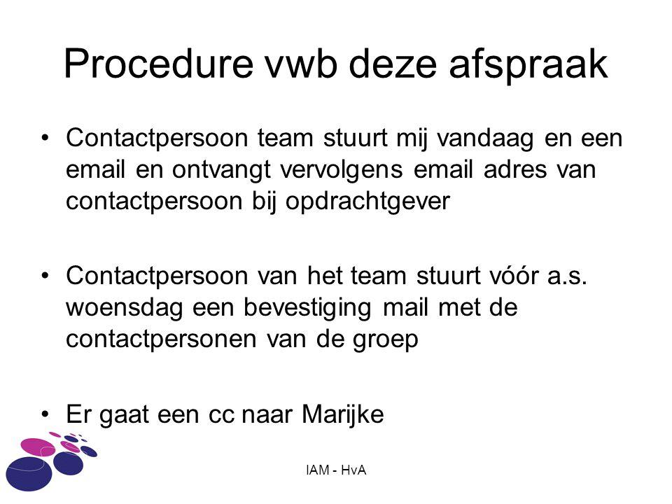 IAM - HvA Procedure vwb deze afspraak •Contactpersoon team stuurt mij vandaag en een email en ontvangt vervolgens email adres van contactpersoon bij o