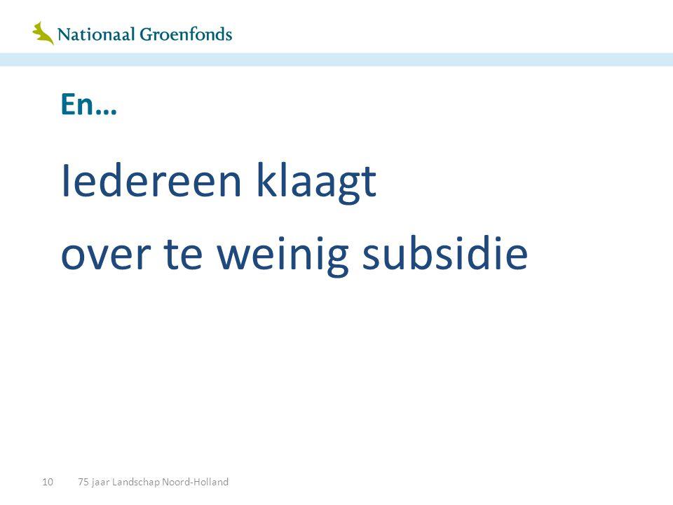 En… Iedereen klaagt over te weinig subsidie 1075 jaar Landschap Noord-Holland