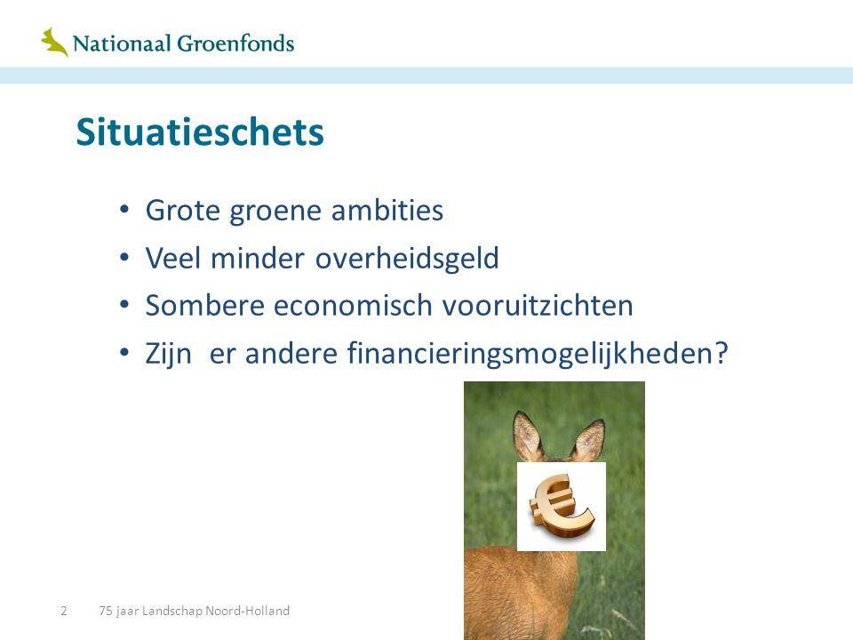Situatieschets • Grote groene ambities • Veel minder overheidsgeld • Sombere economisch vooruitzichten • Zijn er andere financieringsmogelijkheden.