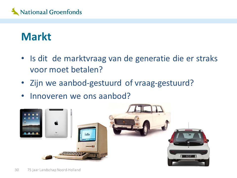 Markt • Is dit de marktvraag van de generatie die er straks voor moet betalen? • Zijn we aanbod-gestuurd of vraag-gestuurd? • Innoveren we ons aanbod?