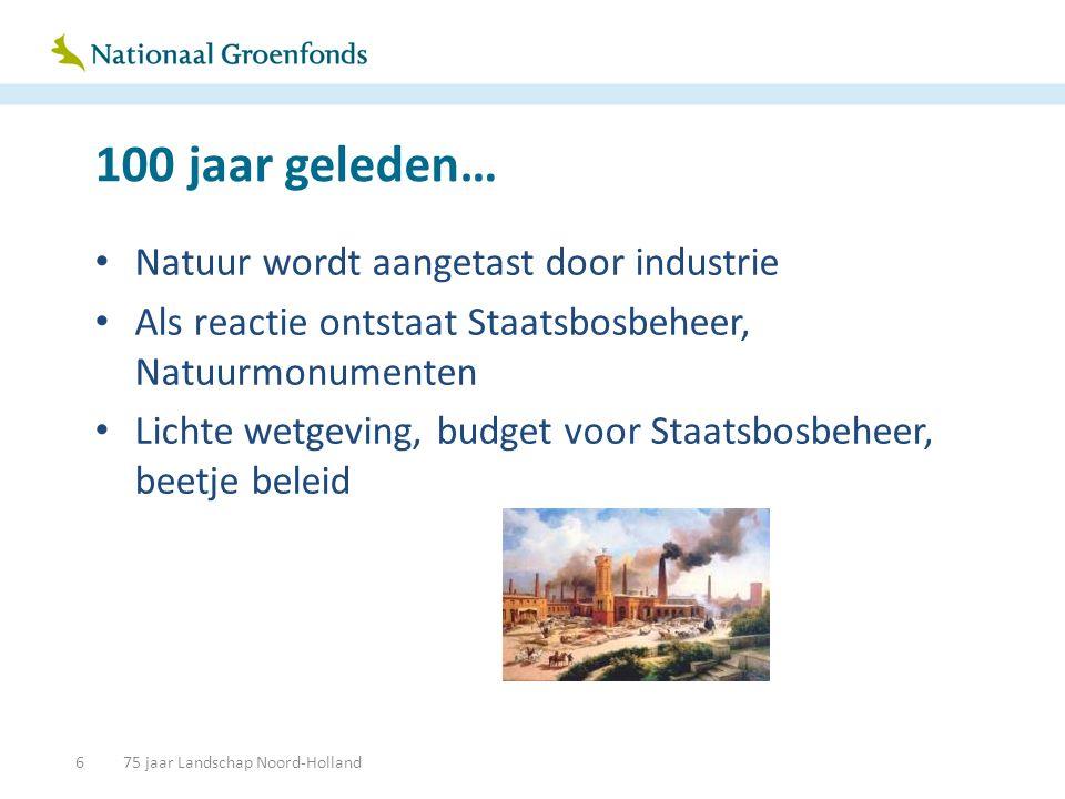 100 jaar geleden… • Natuur wordt aangetast door industrie • Als reactie ontstaat Staatsbosbeheer, Natuurmonumenten • Lichte wetgeving, budget voor Sta