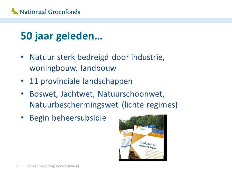 1990 • Natuur ook bedreigd door infrastructuur en emissies • Particulieren en boeren melden zich als beheerder naast de TBO's • EHS-concept: nieuwbouw van natuur • Grootse Groen-om-de-stad plannen, mét geld • Wetgeving wordt zwaarder: Flora- en Faunawet • Internationale verplichtingen op stoom • Beheersubsidie en aankoopsubsidie stijgen stevig 875 jaar Landschap Noord-Holland
