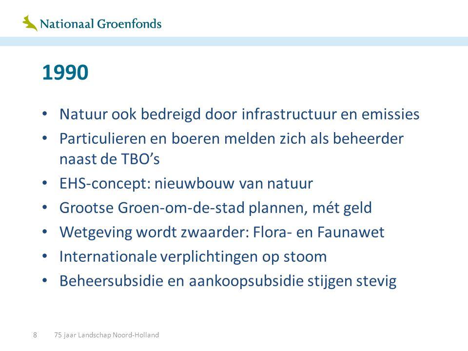 1990 • Natuur ook bedreigd door infrastructuur en emissies • Particulieren en boeren melden zich als beheerder naast de TBO's • EHS-concept: nieuwbouw