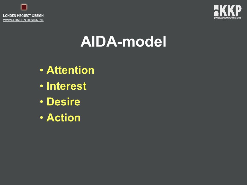 AIDA-model • Attention • Interest • Desire • Action