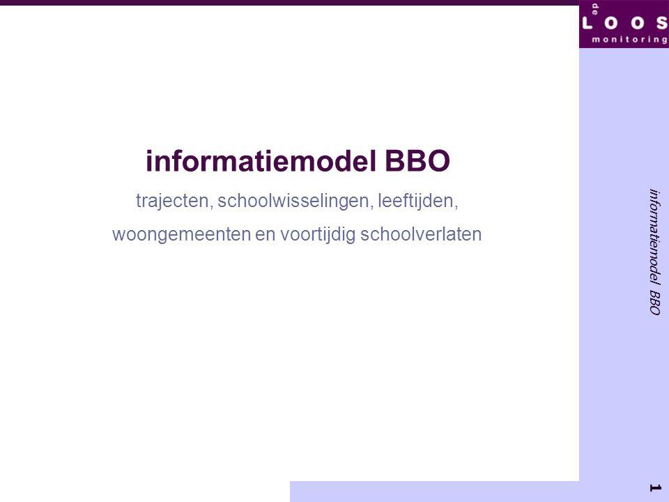 1 informatiemodel BBO trajecten, schoolwisselingen, leeftijden, woongemeenten en voortijdig schoolverlaten