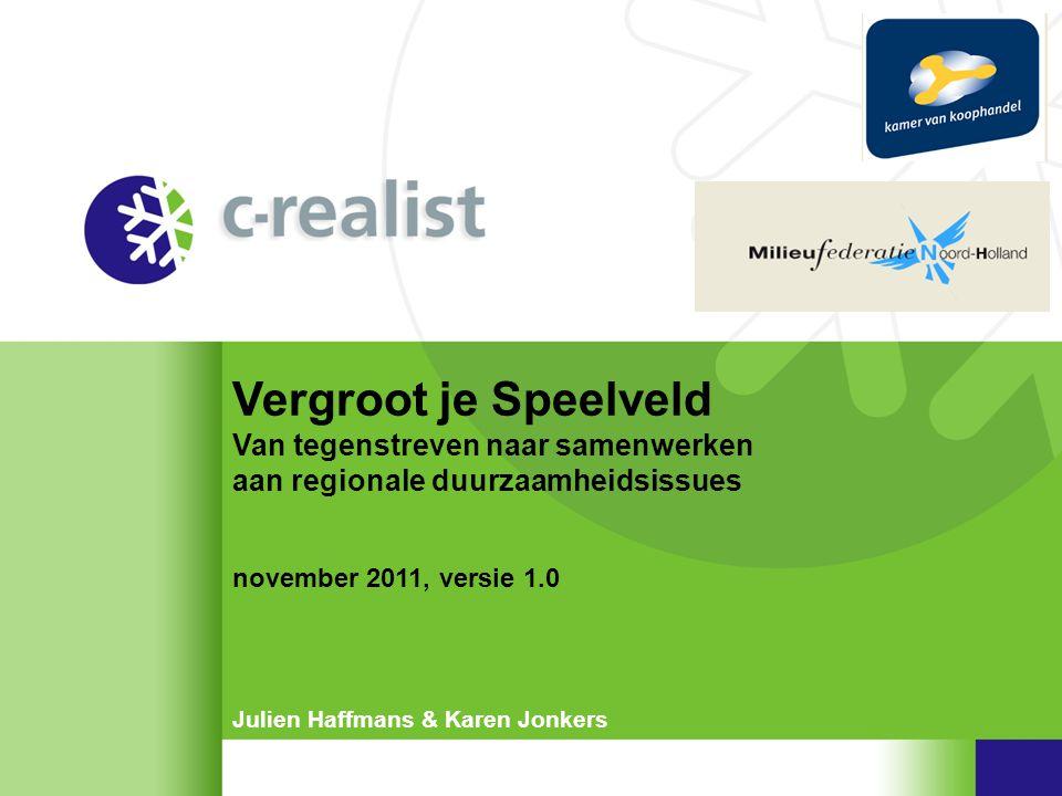Vergroot je Speelveld Tot zover Methode en Tips 'Vergroot je Speelveld' •Meer informatie •linked-in: 'Vergroot –je-Speelveld' •twitter: @VjS of zoek op #VjS •www.c-realist.nlwww.c-realist.nl •Begeleiding, training en contact •info@c-realist.nl, e.krommendijk@mnh.nl of bashar.al.badri@kvk.nlinfo@c-realist.nle.krommendijk@mnh.nl bashar.al.badri@kvk.nl •Of neem direct contact op met •Julien Haffmans: 06 27 27 2001 •Karen Jonkers: 06 30 414 918 methode