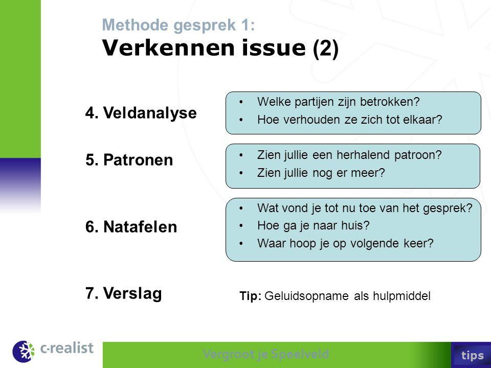 Vergroot je Speelveld Methode gesprek 1: Verkennen issue (2) •Welke partijen zijn betrokken? •Hoe verhouden ze zich tot elkaar? •Zien jullie een herha
