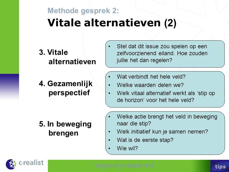 Vergroot je Speelveld Methode gesprek 2: Vitale alternatieven (2) •Stel dat dit issue zou spelen op een zelfvoorzienend eiland. Hoe zouden jullie het