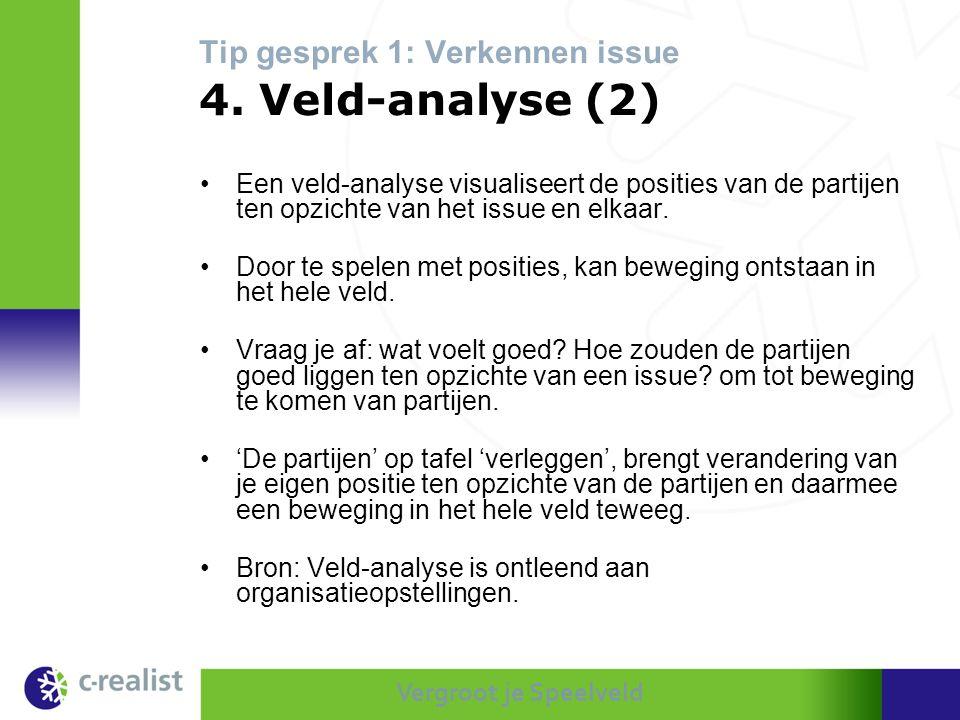 Vergroot je Speelveld Tip gesprek 1: Verkennen issue 4. Veld-analyse (2) •Een veld-analyse visualiseert de posities van de partijen ten opzichte van h