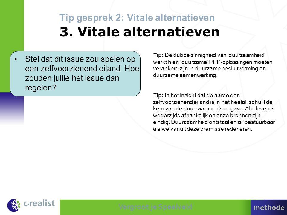 Vergroot je Speelveld Tip gesprek 2: Vitale alternatieven 3. Vitale alternatieven Tip: De dubbelzinnigheid van 'duurzaamheid' werkt hier: 'duurzame' P