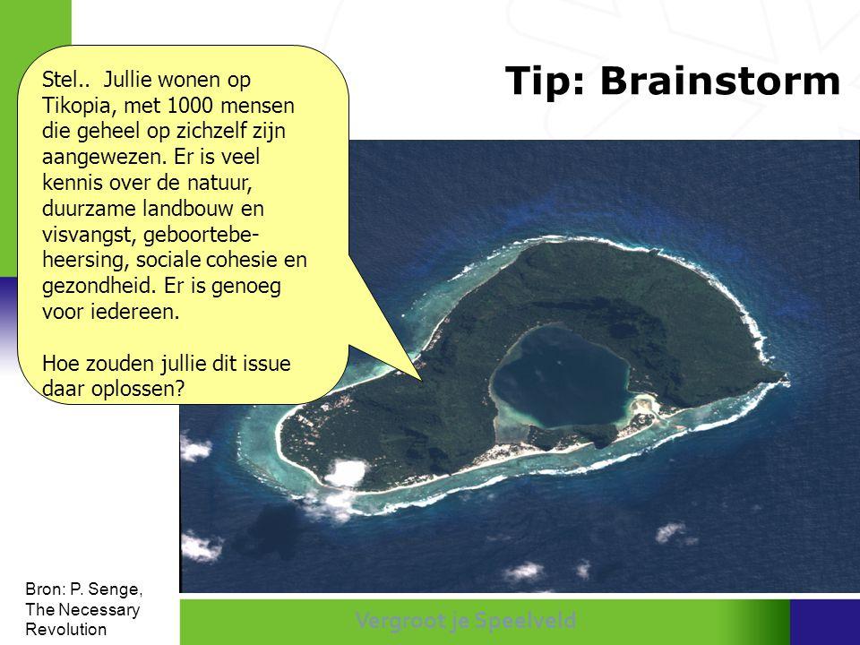 Vergroot je Speelveld Tip: Brainstorm Stel.. Jullie wonen op Tikopia, met 1000 mensen die geheel op zichzelf zijn aangewezen. Er is veel kennis over d