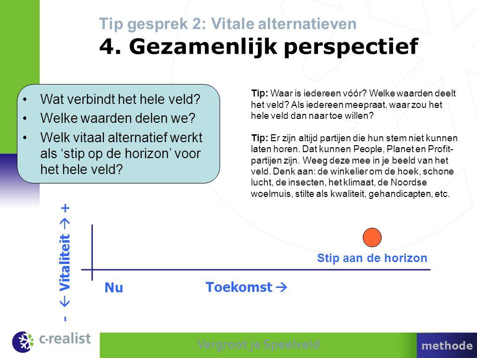 Vergroot je Speelveld Tip gesprek 2: Vitale alternatieven 4. Gezamenlijk perspectief Tip: Waar is iedereen vóór? Welke waarden deelt het veld? Als ied