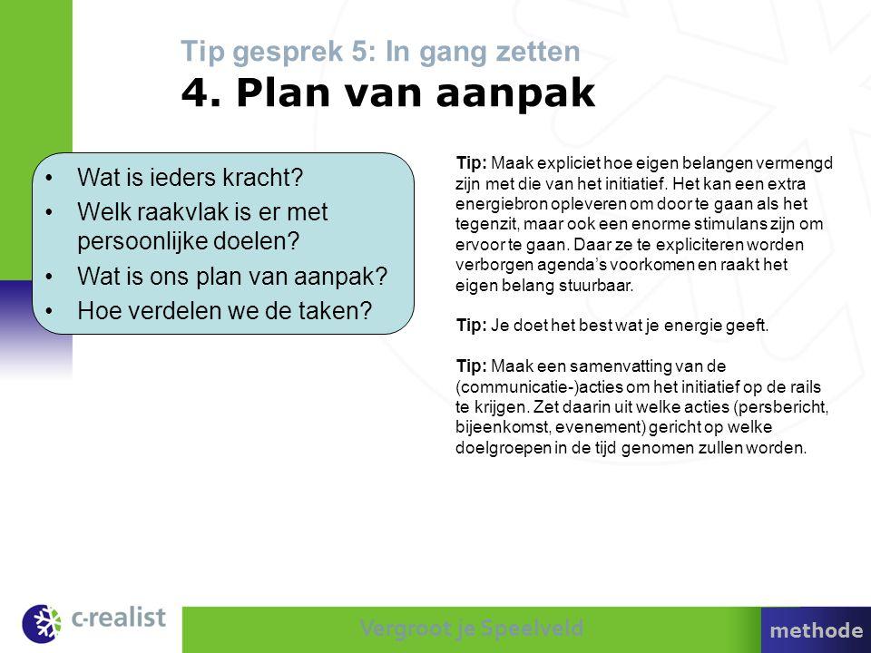Vergroot je Speelveld Tip gesprek 5: In gang zetten 4. Plan van aanpak •Wat is ieders kracht? •Welk raakvlak is er met persoonlijke doelen? •Wat is on