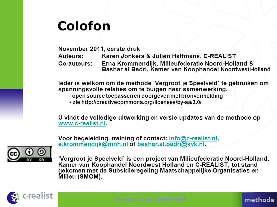 Vergroot je Speelveld Colofon November 2011, eerste druk Auteurs: Karen Jonkers & Julien Haffmans, C-REALIST Co-auteurs: Erna Krommendijk, Milieufeder